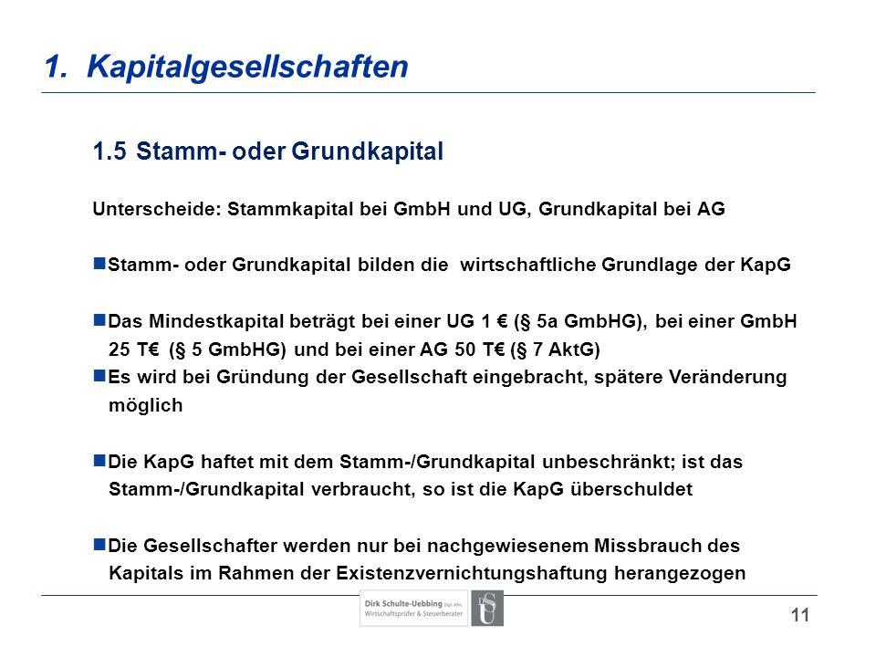 11 1. Kapitalgesellschaften 1.5Stamm- oder Grundkapital Unterscheide: Stammkapital bei GmbH und UG, Grundkapital bei AG Stamm- oder Grundkapital bilde