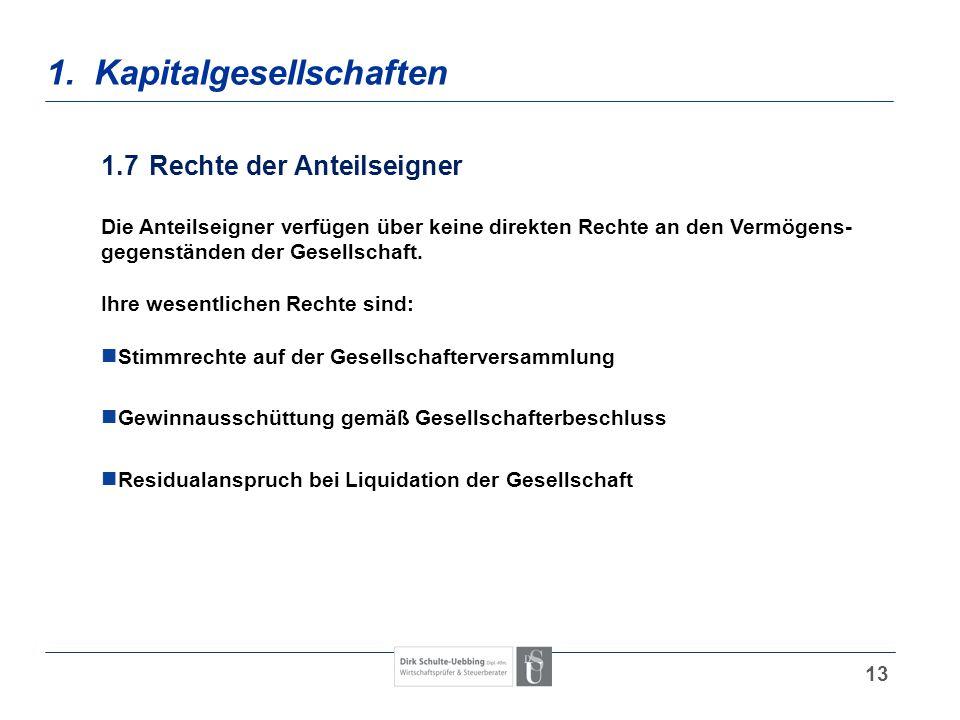 13 1. Kapitalgesellschaften 1.7Rechte der Anteilseigner Die Anteilseigner verfügen über keine direkten Rechte an den Vermögens- gegenständen der Gesel