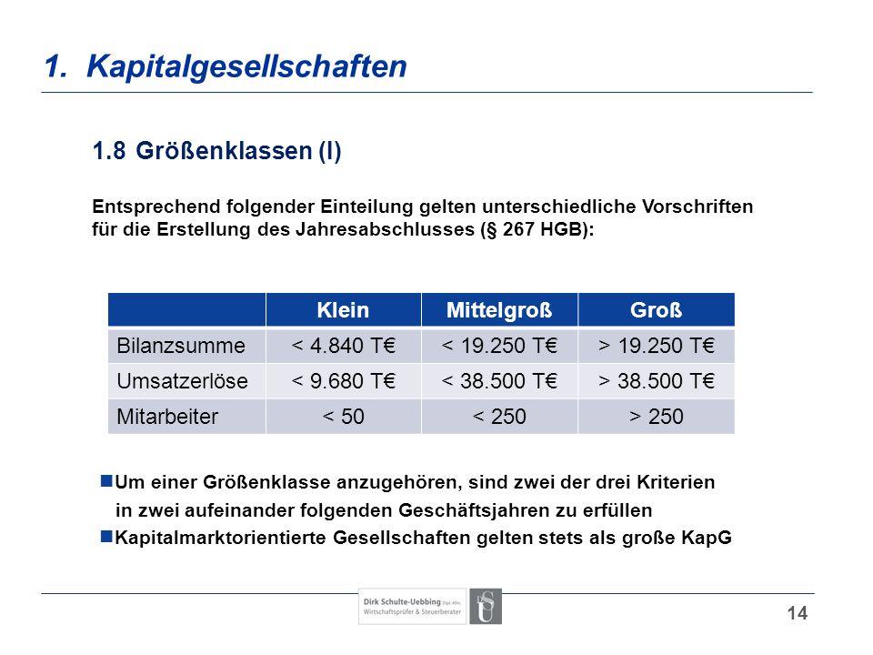 14 1. Kapitalgesellschaften 1.8Größenklassen (I) Entsprechend folgender Einteilung gelten unterschiedliche Vorschriften für die Erstellung des Jahresa