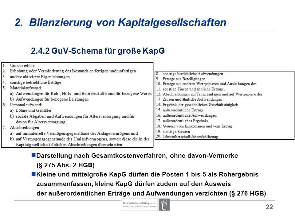 22 2. Bilanzierung von Kapitalgesellschaften 2.4.2 GuV-Schema für große KapG Darstellung nach Gesamtkostenverfahren, ohne davon-Vermerke (§ 275 Abs. 2