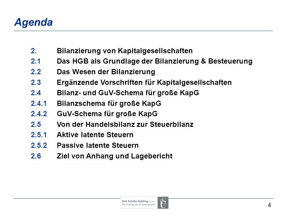 4 Agenda 2.Bilanzierung von Kapitalgesellschaften 2.1Das HGB als Grundlage der Bilanzierung & Besteuerung 2.2Das Wesen der Bilanzierung 2.3Ergänzende