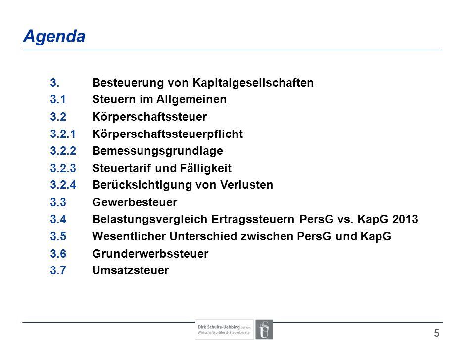 5 Agenda 3.Besteuerung von Kapitalgesellschaften 3.1Steuern im Allgemeinen 3.2Körperschaftssteuer 3.2.1Körperschaftssteuerpflicht 3.2.2Bemessungsgrund
