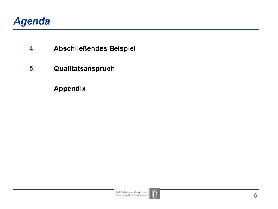 6 Agenda 4.Abschließendes Beispiel 5.Qualitätsanspruch Appendix