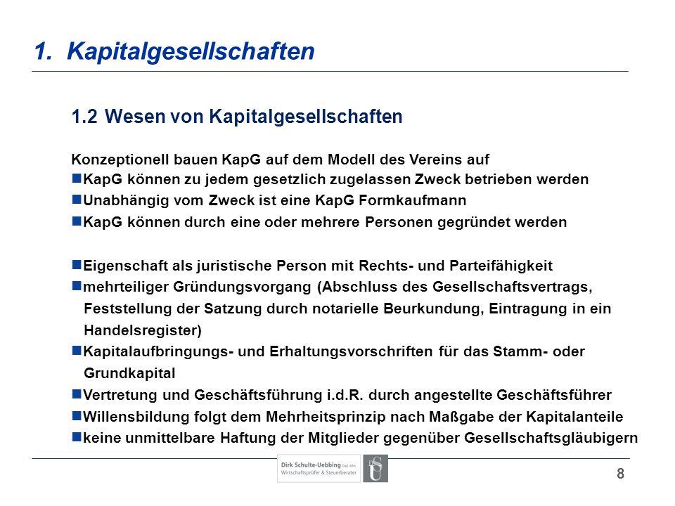 8 1. Kapitalgesellschaften 1.2Wesen von Kapitalgesellschaften Konzeptionell bauen KapG auf dem Modell des Vereins auf KapG können zu jedem gesetzlich