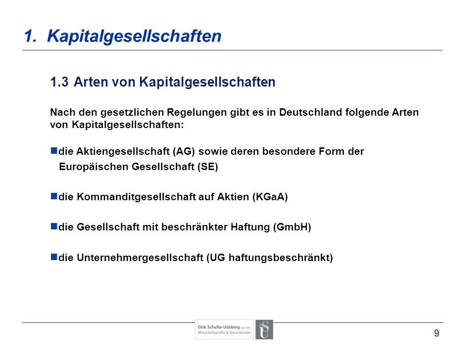 9 1. Kapitalgesellschaften 1.3Arten von Kapitalgesellschaften Nach den gesetzlichen Regelungen gibt es in Deutschland folgende Arten von Kapitalgesell