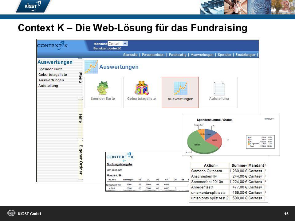 KIGST GmbH 14 Wo wohnen Ihre Spender? Context K – Die Web-Lösung für das Fundraising