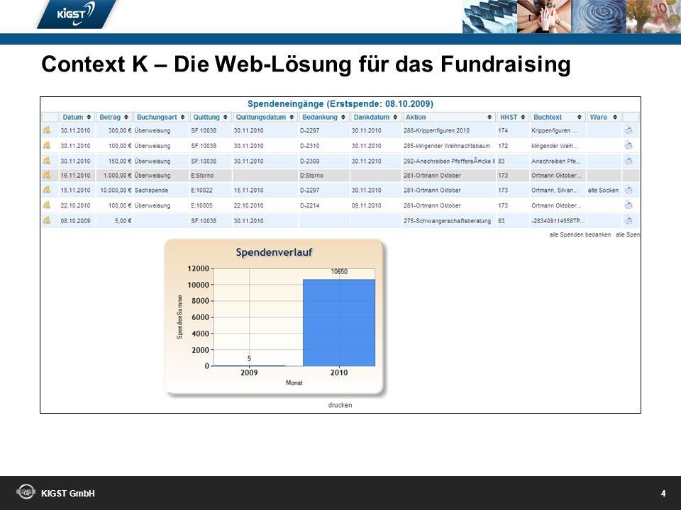 KIGST GmbH 3 Context K – Die Web-Lösung für das Fundraising