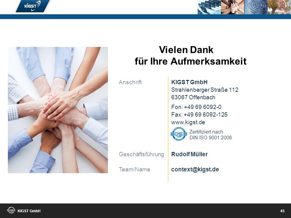 KIGST GmbH 44 Das Unternehmen: Die KIGST GmbH wurde 2001 gegründet. Ein junges Unternehmen, das zugleich eine langjährige Tradition aufweist. Seine Ur