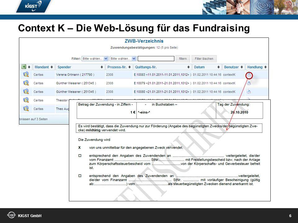 KIGST GmbH 5 Context K – Die Web-Lösung für das Fundraising
