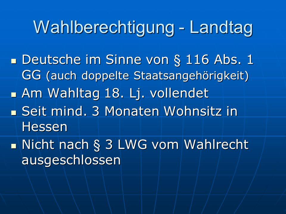 Wahlberechtigung - Landtag Deutsche im Sinne von § 116 Abs.