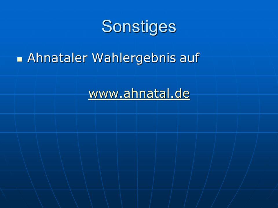 Sonstiges Ahnataler Wahlergebnis auf Ahnataler Wahlergebnis auf www.ahnatal.de