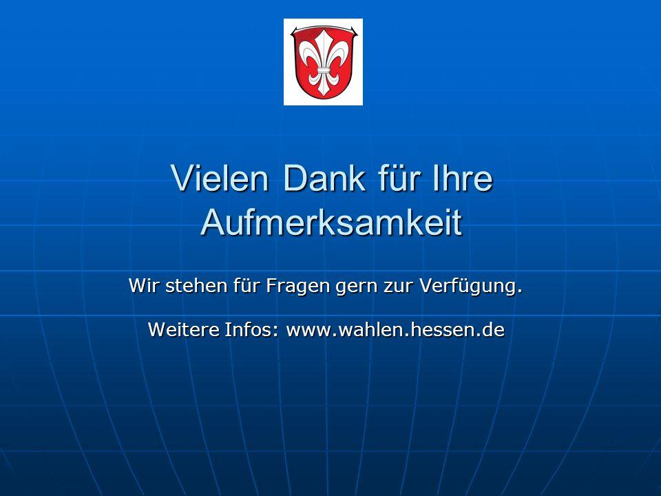 Vielen Dank für Ihre Aufmerksamkeit Wir stehen für Fragen gern zur Verfügung. Weitere Infos: www.wahlen.hessen.de