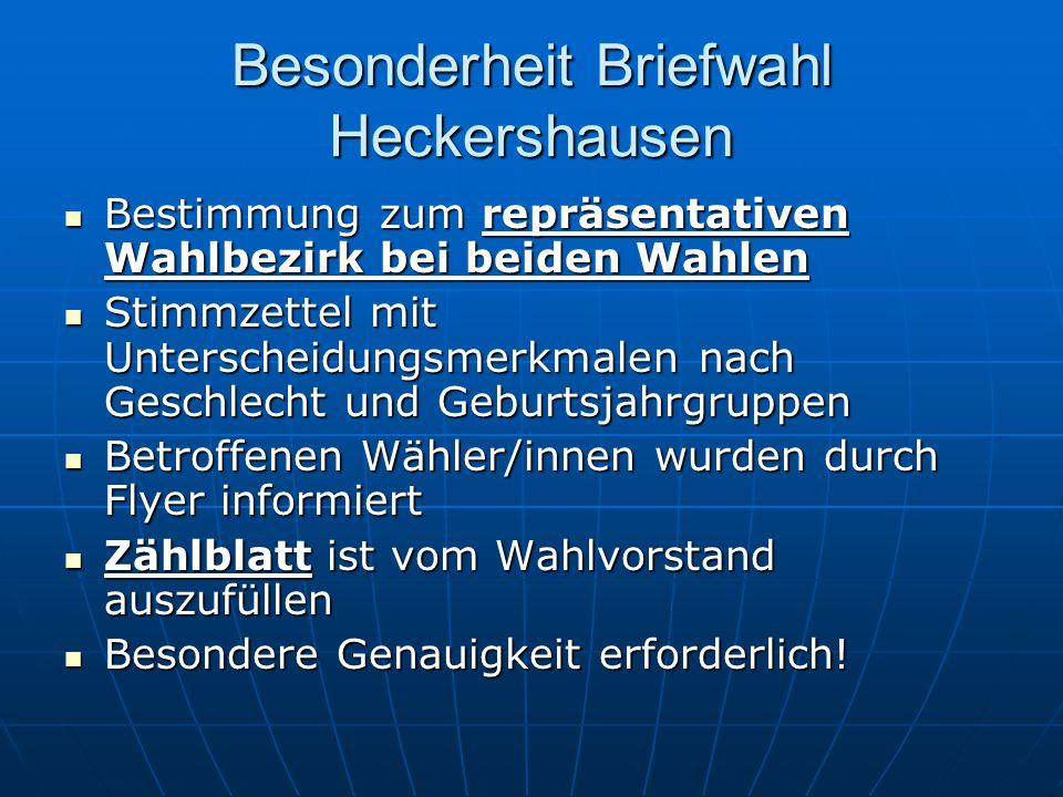 Besonderheit Briefwahl Heckershausen Bestimmung zum repräsentativen Wahlbezirk bei beiden Wahlen Bestimmung zum repräsentativen Wahlbezirk bei beiden