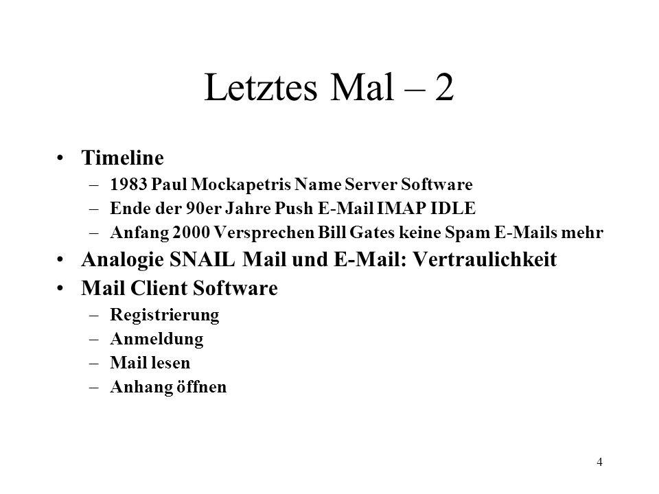 4 Letztes Mal – 2 Timeline –1983 Paul Mockapetris Name Server Software –Ende der 90er Jahre Push E-Mail IMAP IDLE –Anfang 2000 Versprechen Bill Gates keine Spam E-Mails mehr Analogie SNAIL Mail und E-Mail: Vertraulichkeit Mail Client Software –Registrierung –Anmeldung –Mail lesen –Anhang öffnen