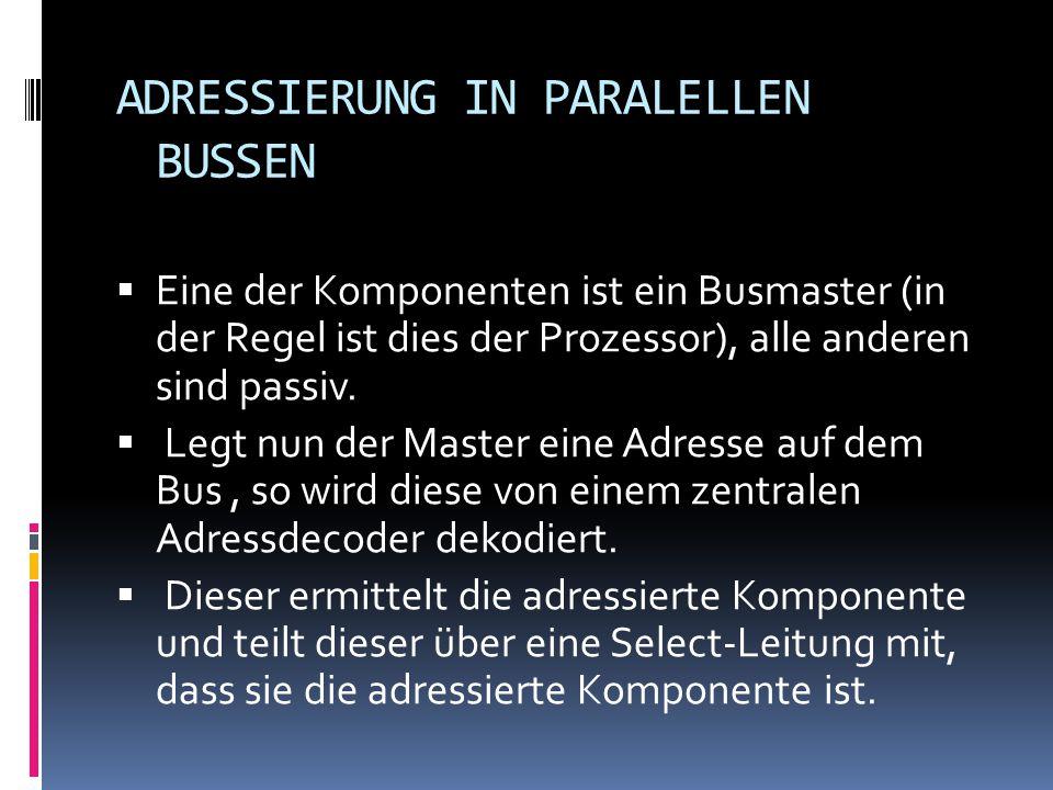 ADRESSIERUNG IN PARALELLEN BUSSEN Eine der Komponenten ist ein Busmaster (in der Regel ist dies der Prozessor), alle anderen sind passiv. Legt nun der