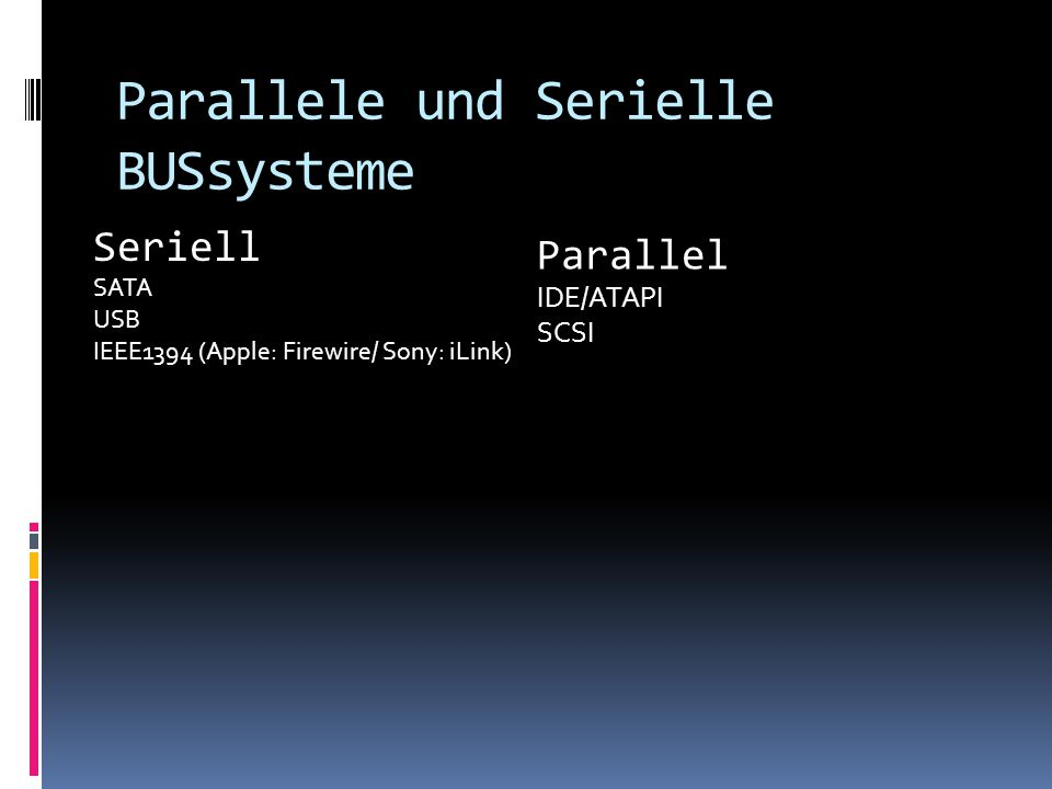 Parallele und Serielle BUSsysteme Parallel IDE/ATAPI SCSI Seriell SATA USB IEEE1394 (Apple: Firewire/ Sony: iLink)