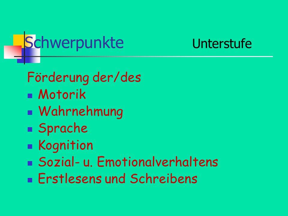 Schwerpunkte Unterstufe Förderung der/des Motorik Wahrnehmung Sprache Kognition Sozial- u.