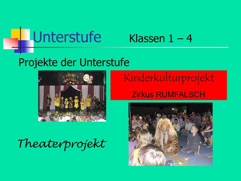 Unterstufe Klassen 1 – 4 Projekte der Unterstufe Kinderkulturprojekt Zirkus RUMFALSCH Theaterprojekt