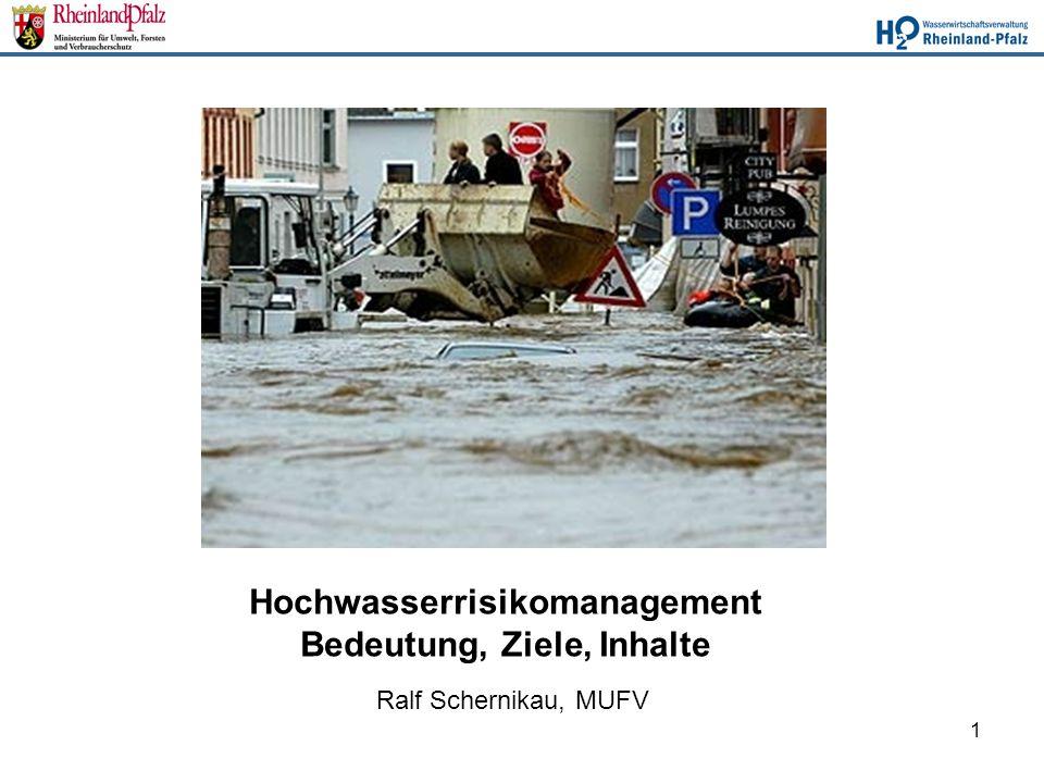 1 Hochwasserrisikomanagement Bedeutung, Ziele, Inhalte Ralf Schernikau, MUFV