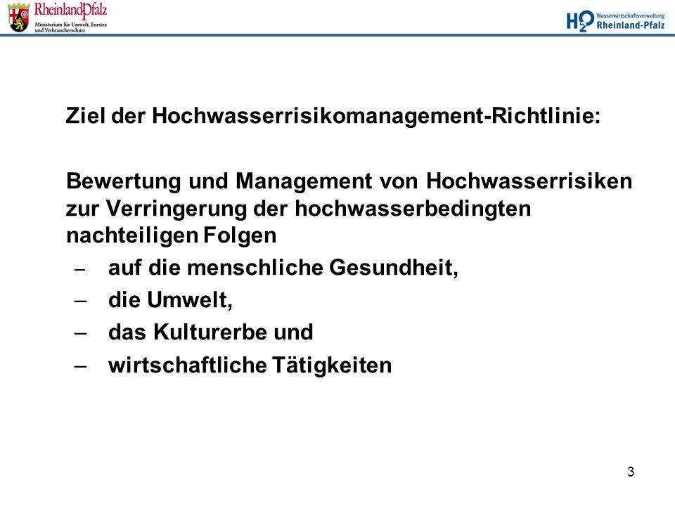 3 Ziel der Hochwasserrisikomanagement-Richtlinie: Bewertung und Management von Hochwasserrisiken zur Verringerung der hochwasserbedingten nachteiligen