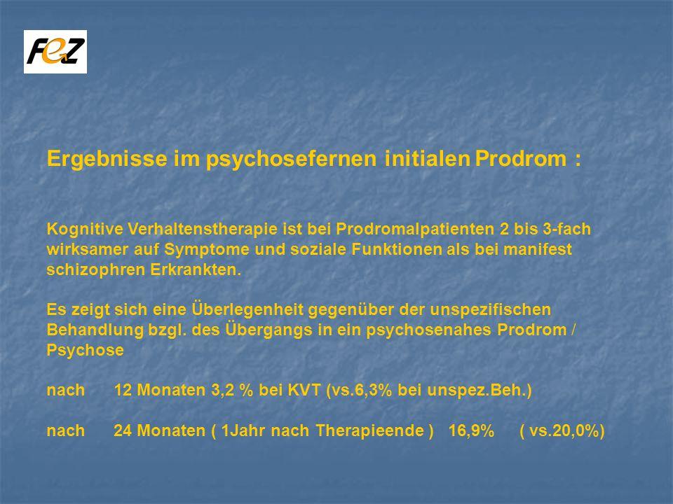 Ergebnisse im psychosefernen initialen Prodrom : Kognitive Verhaltenstherapie ist bei Prodromalpatienten 2 bis 3-fach wirksamer auf Symptome und soziale Funktionen als bei manifest schizophren Erkrankten.