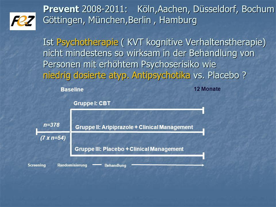 Prevent 2008-2011: Köln,Aachen, Düsseldorf, Bochum Göttingen, München,Berlin, Hamburg Ist Psychotherapie ( KVT kognitive Verhaltenstherapie) nicht mindestens so wirksam in der Behandlung von Personen mit erhöhtem Psychoserisiko wie niedrig dosierte atyp.