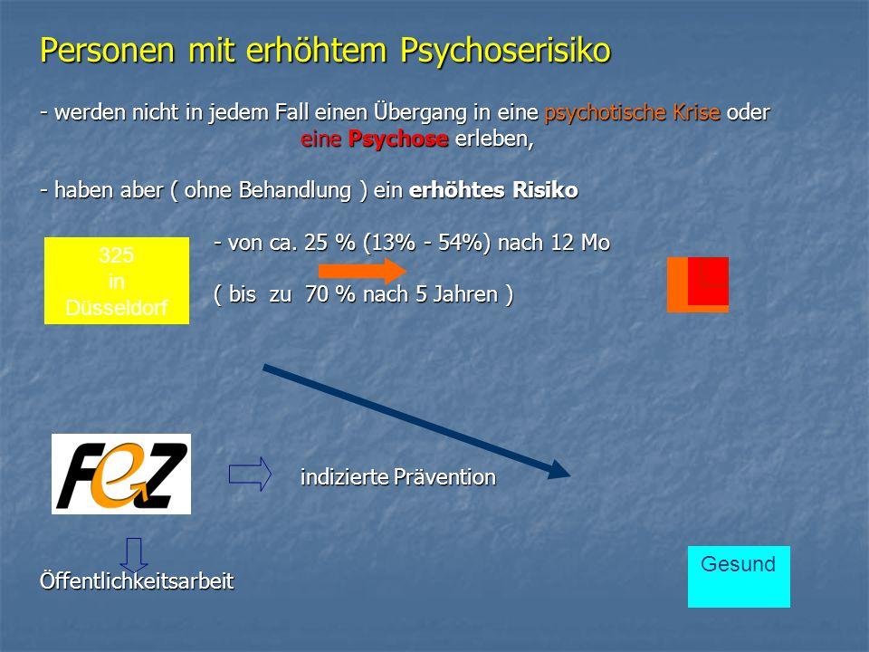 Personen mit erhöhtem Psychoserisiko - werden nicht in jedem Fall einen Übergang in eine psychotische Krise oder eine Psychose erleben, - haben aber ( ohne Behandlung ) ein erhöhtes Risiko - von ca.