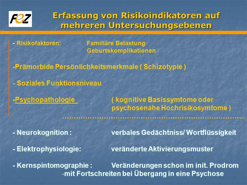 Erfassung von Risikoindikatoren auf mehreren Untersuchungsebenen - Risikofaktoren:Familiäre Belastung Geburtskomplikationen -Prämorbide Persönlichkeitsmerkmale ( Schizotypie ) - Soziales Funktionsniveau -Psychopathologie ( kognitive Basissymtome oder psychosenahe Hochrisikosymtome ) ……………………………………………………………………..