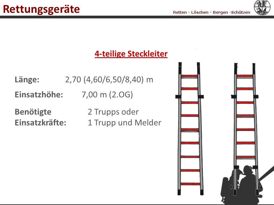 4-teilige Steckleiter Länge:2,70 (4,60/6,50/8,40) m Einsatzhöhe:7,00 m (2.OG) Benötigte Einsatzkräfte: 2 Trupps oder 1 Trupp und Melder Rettungsgeräte