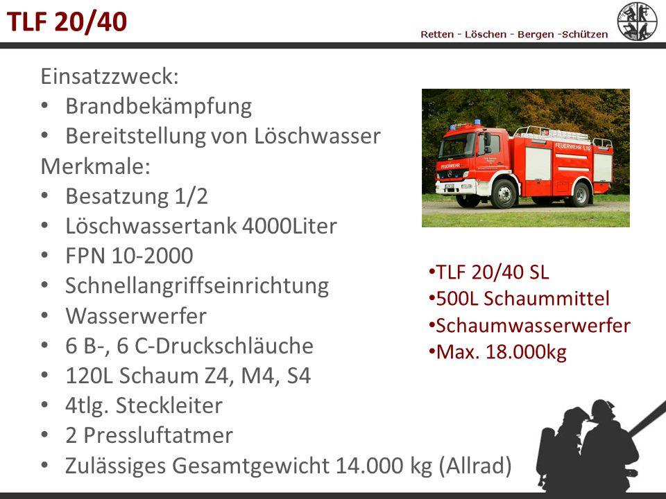 TLF 20/40 Einsatzzweck: Brandbekämpfung Bereitstellung von Löschwasser Merkmale: Besatzung 1/2 Löschwassertank 4000Liter FPN 10-2000 Schnellangriffsei