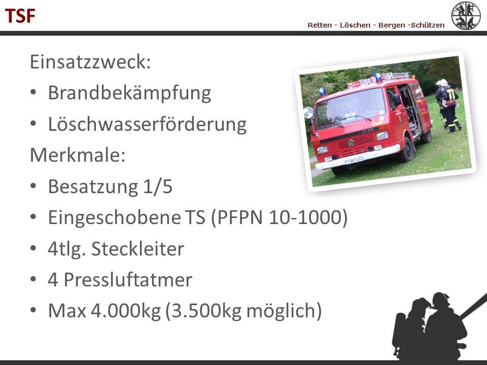 TSF Einsatzzweck: Brandbekämpfung Löschwasserförderung Merkmale: Besatzung 1/5 Eingeschobene TS (PFPN 10-1000) 4tlg. Steckleiter 4 Pressluftatmer Max