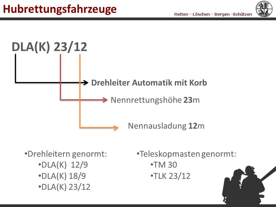 Hubrettungsfahrzeuge DLA(K) 23/12 Drehleiter Automatik mit Korb Nennrettungshöhe 23m Nennausladung 12m Drehleitern genormt: DLA(K) 12/9 DLA(K) 18/9 DL