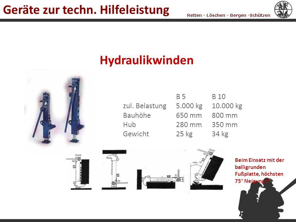 Hydraulikwinden B 10 10.000 kg 800 mm 350 mm 34 kg zul. Belastung Bauhöhe Hub Gewicht B 5 5.000 kg 650 mm 280 mm 25 kg Beim Einsatz mit der balligrund