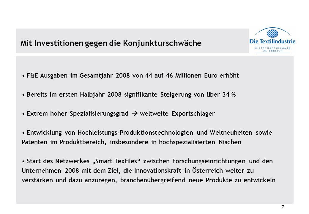 7 Mit Investitionen gegen die Konjunkturschwäche F&E Ausgaben im Gesamtjahr 2008 von 44 auf 46 Millionen Euro erhöht Bereits im ersten Halbjahr 2008 s