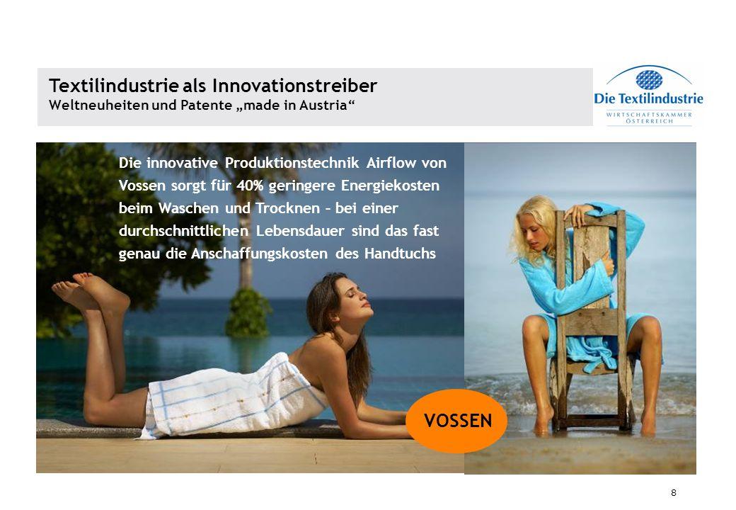 8 Die innovative Produktionstechnik Airflow von Vossen sorgt für 40% geringere Energiekosten beim Waschen und Trocknen – bei einer durchschnittlichen