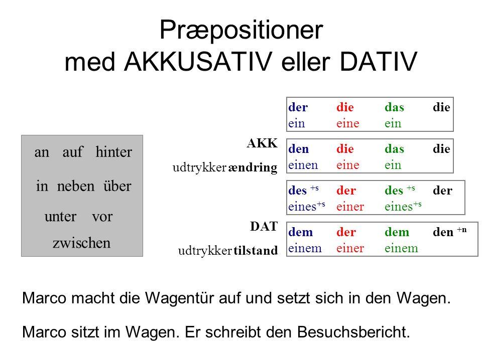 Præpositioner med AKKUSATIV eller DATIV demderdemden +n einemeinereinem dendiedasdie eineneineein AKK udtrykker ændring DAT udtrykker tilstand anaufhi