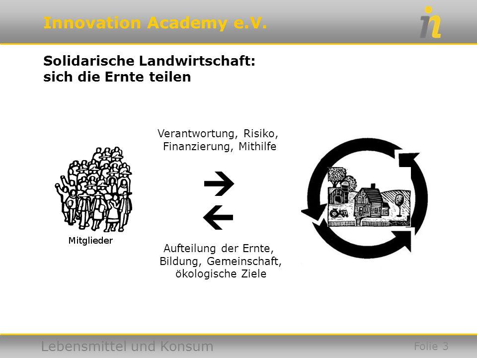 Innovation Academy e.V. Lebensmittel und Konsum Folie 4 Gartencoop: Verteilung auf kurzen Wegen