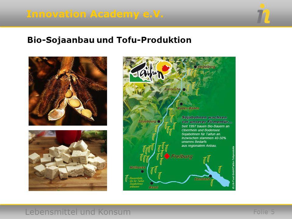 Innovation Academy e.V. Lebensmittel und Konsum Folie 5 Bio-Sojaanbau und Tofu-Produktion