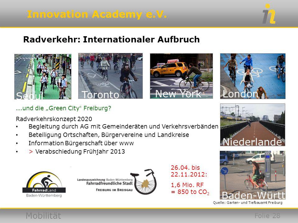 Innovation Academy e.V. Mobilität...und die Green City Freiburg? Radverkehrskonzept 2020 Begleitung durch AG mit Gemeinderäten und Verkehrsverbänden B