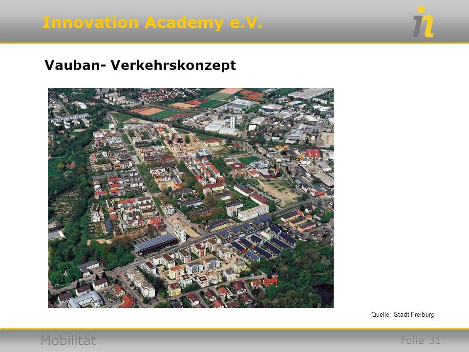 Innovation Academy e.V. Mobilität Vauban- Verkehrskonzept Quelle: Stadt Freiburg Folie 31
