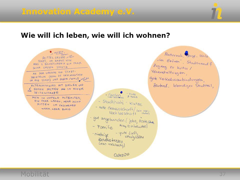 Innovation Academy e.V. Mobilität Wie will ich leben, wie will ich wohnen? 37