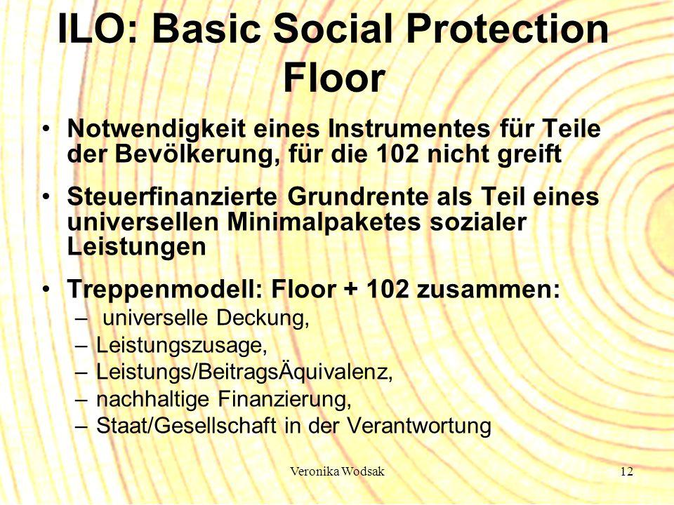 Veronika Wodsak12 ILO: Basic Social Protection Floor Notwendigkeit eines Instrumentes für Teile der Bevölkerung, für die 102 nicht greift Steuerfinanz