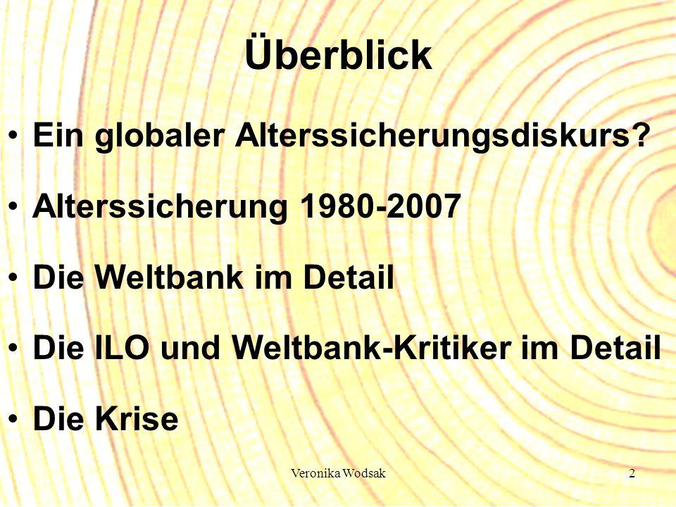 Veronika Wodsak2 Überblick Ein globaler Alterssicherungsdiskurs? Alterssicherung 1980-2007 Die Weltbank im Detail Die ILO und Weltbank-Kritiker im Det