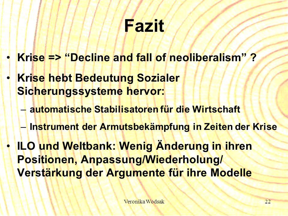 Veronika Wodsak22 Fazit Krise => Decline and fall of neoliberalism ? Krise hebt Bedeutung Sozialer Sicherungssysteme hervor: –automatische Stabilisato