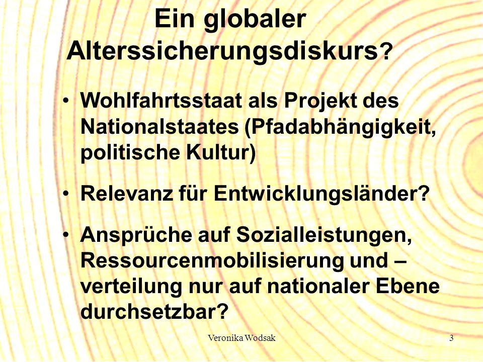Veronika Wodsak3 Ein globaler Alterssicherungsdiskurs ? Wohlfahrtsstaat als Projekt des Nationalstaates (Pfadabhängigkeit, politische Kultur) Relevanz