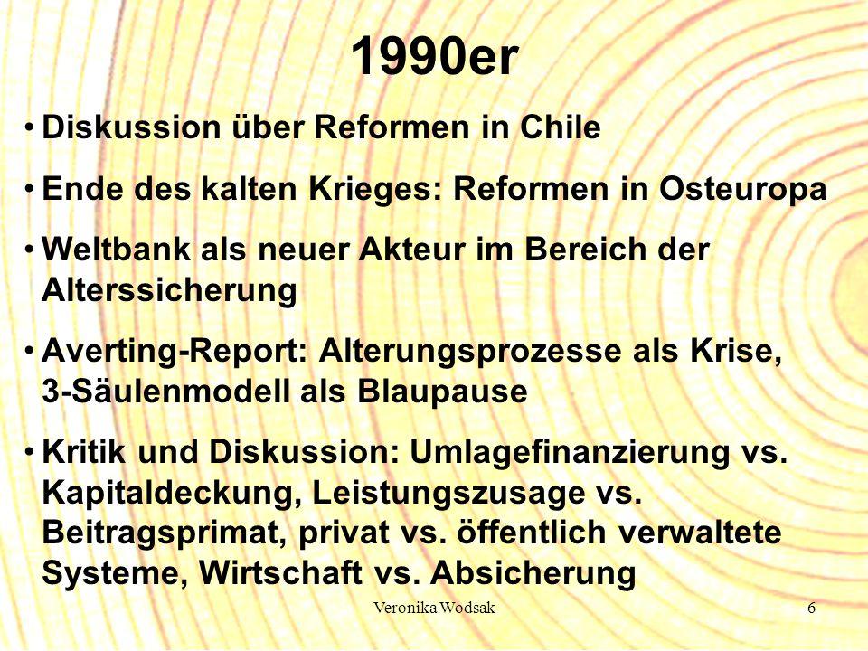 Veronika Wodsak6 1990er Diskussion über Reformen in Chile Ende des kalten Krieges: Reformen in Osteuropa Weltbank als neuer Akteur im Bereich der Alte