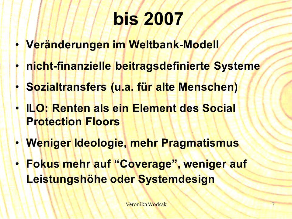 Veronika Wodsak7 bis 2007 Veränderungen im Weltbank-Modell nicht-finanzielle beitragsdefinierte Systeme Sozialtransfers (u.a. für alte Menschen) ILO: