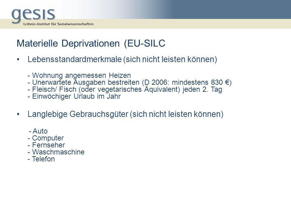 Materielle Deprivationen (EU-SILC Lebensstandardmerkmale (sich nicht leisten können) - Wohnung angemessen Heizen - Unerwartete Ausgaben bestreiten (D