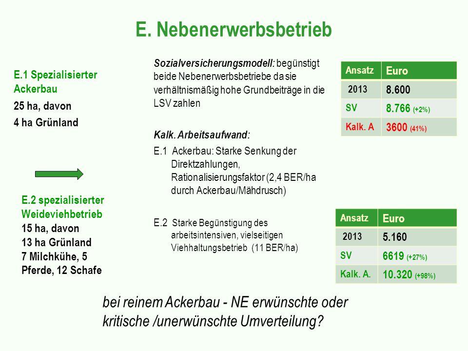 E. Nebenerwerbsbetrieb E.1 Spezialisierter Ackerbau 25 ha, davon 4 ha Grünland Sozialversicherungsmodell: begünstigt beide Nebenerwerbsbetriebe da sie