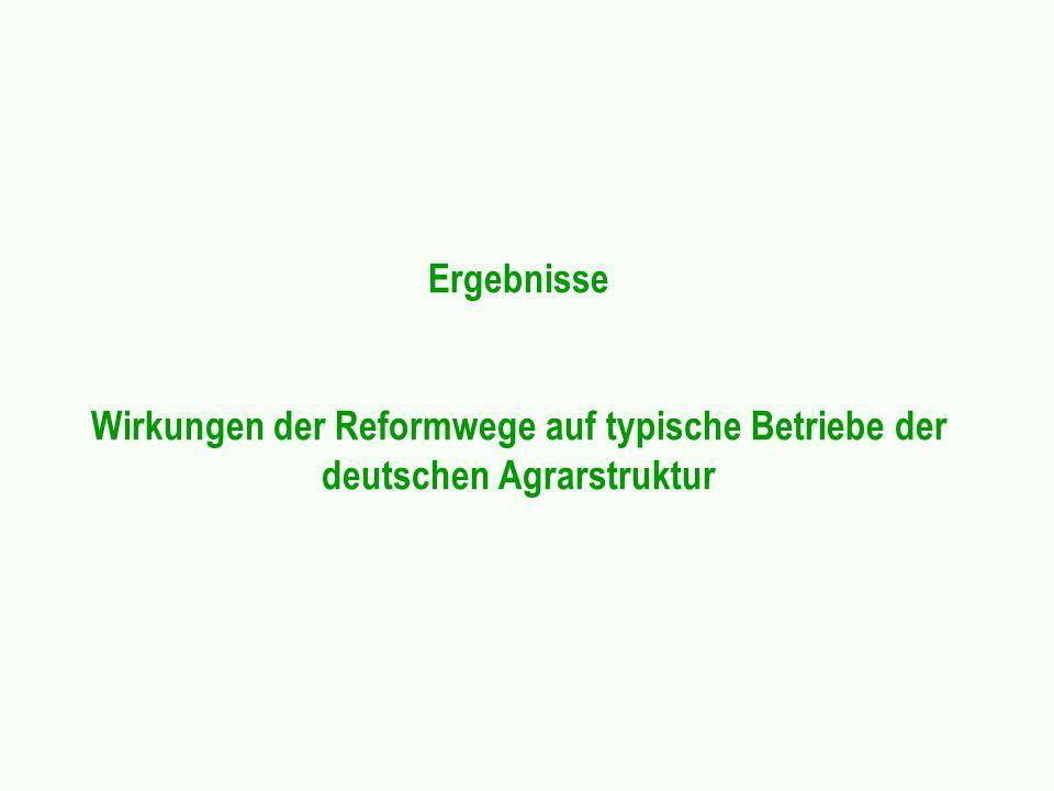 Ergebnisse Wirkungen der Reformwege auf typische Betriebe der deutschen Agrarstruktur